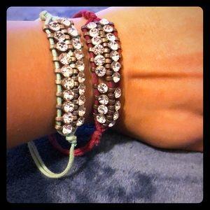 Jewelry - Set of 2 fabric bracelets with clear gems